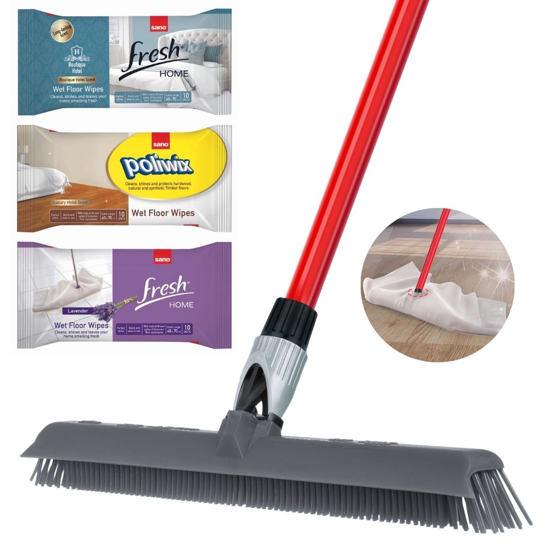 Floor wipes bundle with silicone broom