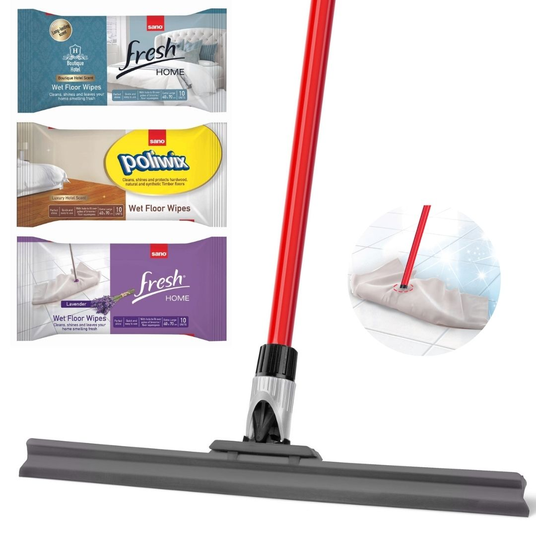 Floor wipes bundle with silicone squeegee